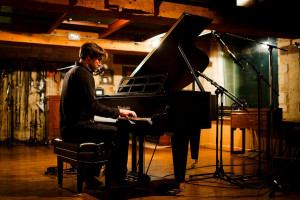 Will recording 'The Wood Room Session' on the Bosendorfer piano at Real World Studios